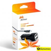 Автомобильное зарядное устройство Florence 2USB + cable microUSB Black 2100mA (CC21-MU)