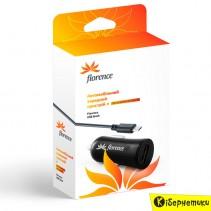Автомобильное зарядное устройство Florence USB 1200mA, cable microUSB Black (CC12-MU)