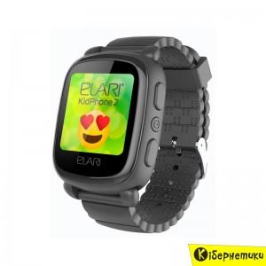 Детские умные часы ELARI KidPhone 2 Black с GPS-трекером (KP-2B)  - купить