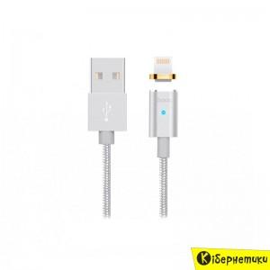 Hoco Кабель USB Lightning U16 Magnetic Absorption 1m Silver  - купить