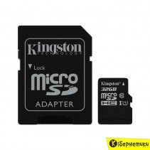 Карта памяти Kingston 32 GB microSDHC Class 10 UHS-I Canvas Select + SD Adapter SDCS/32GB