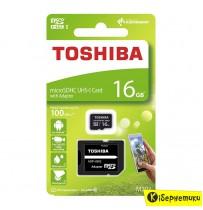 Карта памяти Toshiba 16 GB microSDHC Class 10 UHS-I M203 + SD adapter THN-M203K0160EA