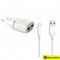 Мережевий зарядний пристрій ASPOR 2 USB (2.4A) (A828) + micro USB