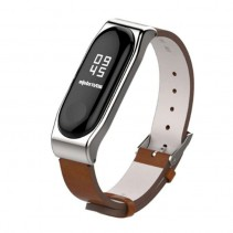 Xiaomi Ремешок для Mi Band 3 leather strap metal holder Brown