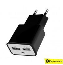 Сетевое зарядное устройство Florence 2USB (2A) (FW-2U020B)/(FW-2U020W)
