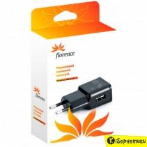 Сетевое зарядное устройство Florence USB Black (FW-1U010B)