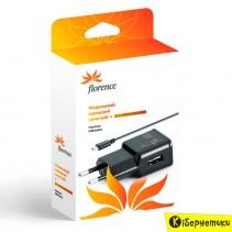 Сетевое зарядное устройство Florence USB + cable micro USB (1A)