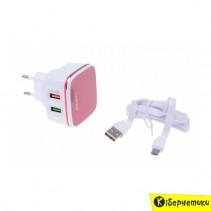Сетевое зарядное устройство LDNIO 2 USB QC + cable micro USB (4.2 A) (DL-A2405Q)