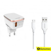 Сетевое зарядное устройство LDNIO USB + cable micro USB (2,4A) (DL-A1204Q)