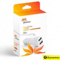 Автомобильное зарядное устройство Florence 2USB 2100mA, cable iPhone 6/6 Plus white (CC21-IPH6)