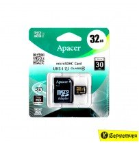Карта памяти Apacer 32 GB microSDHC UHS-I U3 + SD adapter AP32GMCSH10U3-R