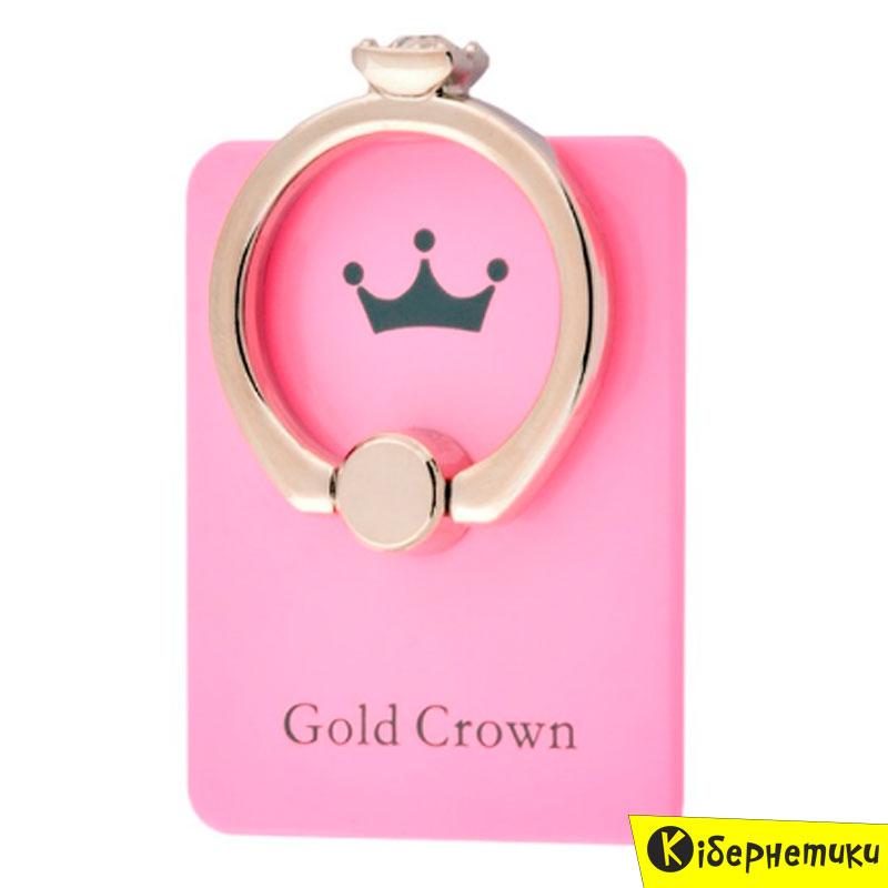 Mobile Selfie Ring Gold Crown Princess Pink